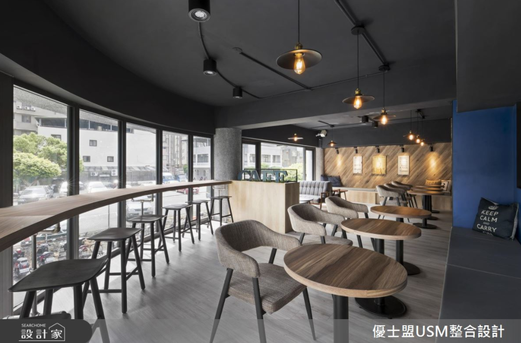 飄送陣陣咖啡香 藍色X木紋混搭時髦感工業風貌